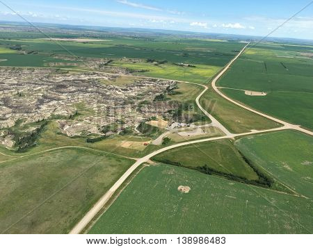 Aerial view from helicopter of badlands, Alberta