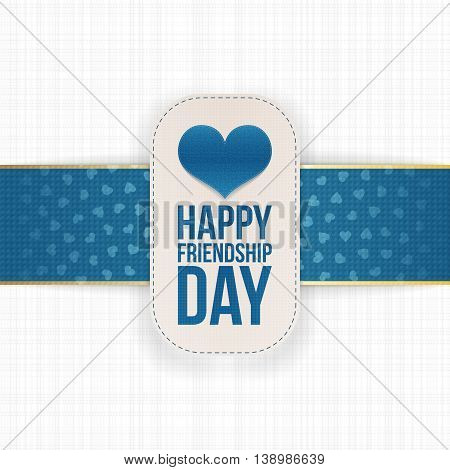 Friendship Day paper Label with festive Ribbon. Vector Illustration