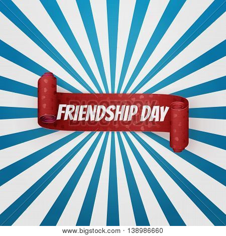Friendship Day realistic red curved Banner. Vector illustration