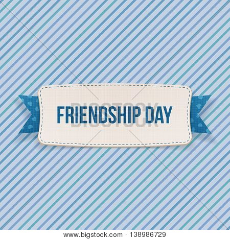 Friendship Day Tag with Ribbon and Shadow. Vector Illustration
