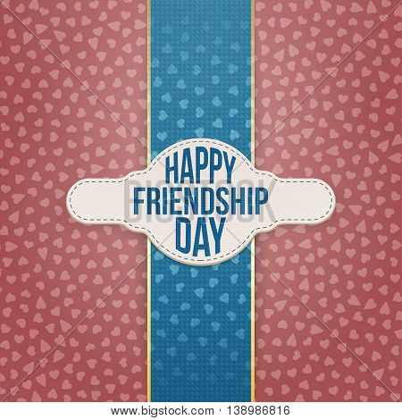 Happy Friendship Day paper Tag with Text. Vector Illustration