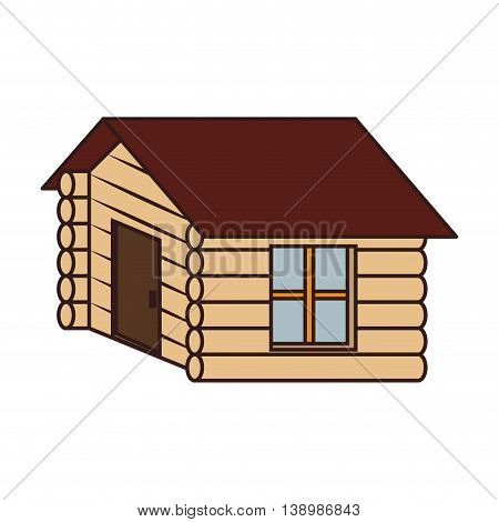 Wooden house camp , isolated colorful icon design