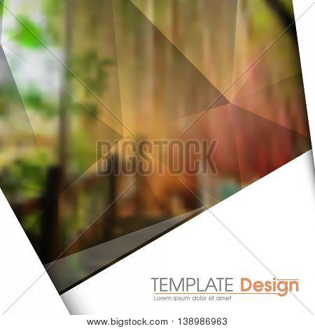 blurred photo realistic nature elements, geometric triangular marketing modern background illustration. eps10 vector