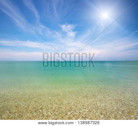 Deep blue sea at day. Nature composition