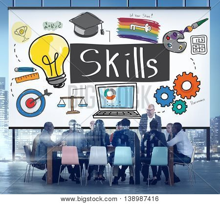 Skills Intelligence Talent Artistry Cleverness Concept