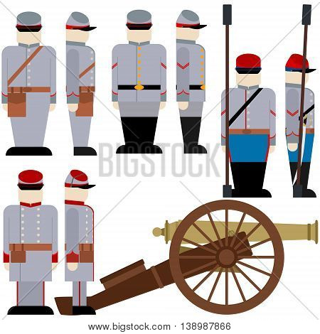 Gunners of the Armed Forces of the Confederation during the US Civil War. The illustration on a white background. poster
