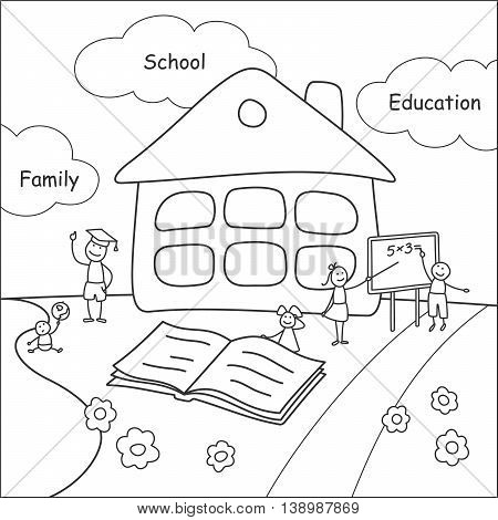 Family stories: school and education. Linear black and white.
