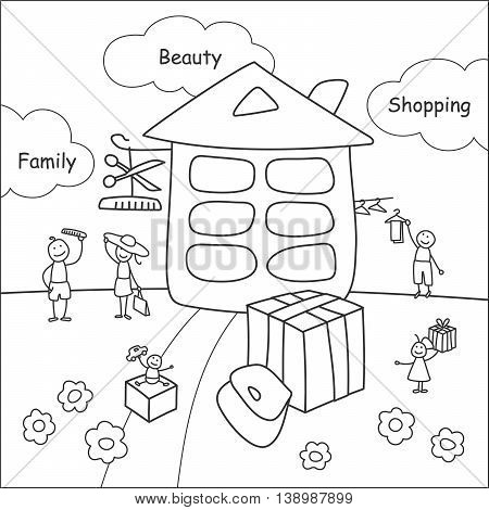 Family stories: beauty and shopping. Linear black and white.