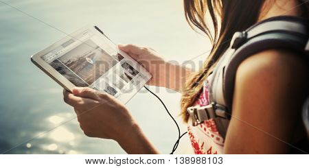 Girl Camping Tablet Listening Music Concept