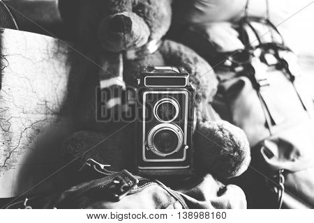 Teddy Camera Bear Map Traveling Memories Concept
