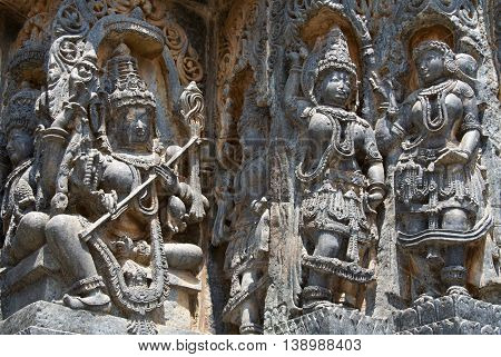 Goddess And Dancers Carved In Hoysaleshwara Temple At Halebidu