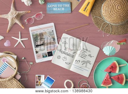 Digital Tablet Travel Packing Plan Trip Journey Concept