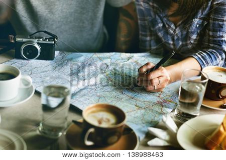 Friends Searching Location Relax Vacation Weekend Concept