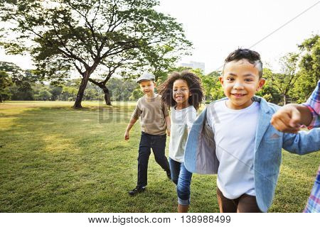 Friendship Trendy Playful Leisure Children Kids Concept