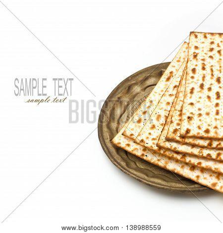 Matza for passover seder celebration on white background