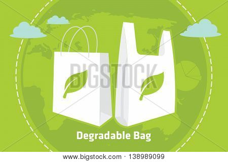 degradable reusable recycle bag vector illustration design