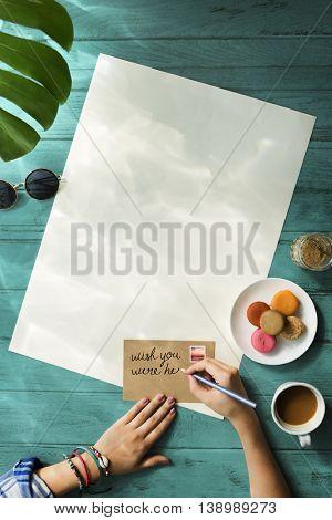 Hands Writing Message Desk Concept