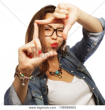 woman making frame with hands, happy time