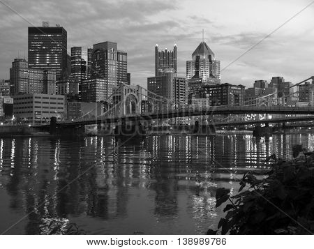 Downtown Pittsburgh Pennsylvania Bridges in black and white.
