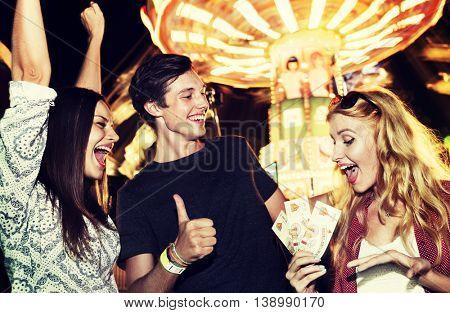 Friends Fun Amusement Park Tickets Concept