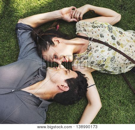 Sweet Couple Laying Grass Concept