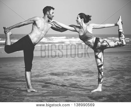 Man Woman Yoga Holding Fitness Concept