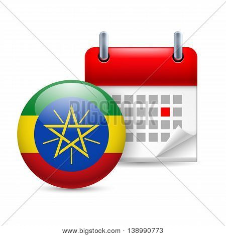 Calendar and round Ethiopian flag icon. National holiday in Ethiopia