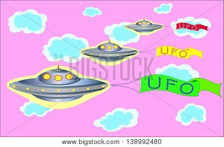 The parade of UFOs in the pink sky with colorful banners with inscriptions UFO.