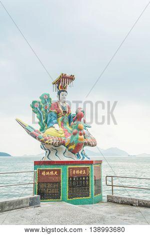 REPULSE BAY HONG KONG - MAY 23: The colorful statue at Kwun Yam temple on May 23 2016 in Repulse Bay Hong Kong.