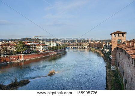 Ponte della Vittoria (Victory Bridge) a bridge located in Verona on the river Adige . It owes its name to the victory of Vittorio Veneto.