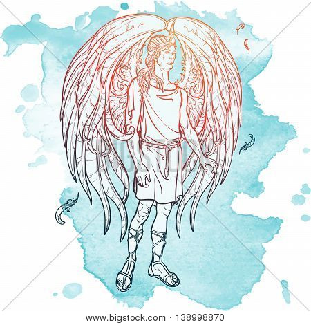 Angel or Archangel. Byblical supernatural creature messenger of God. Sketch drawing isolated on grunge watercolor background. EPS10 vector illustration.