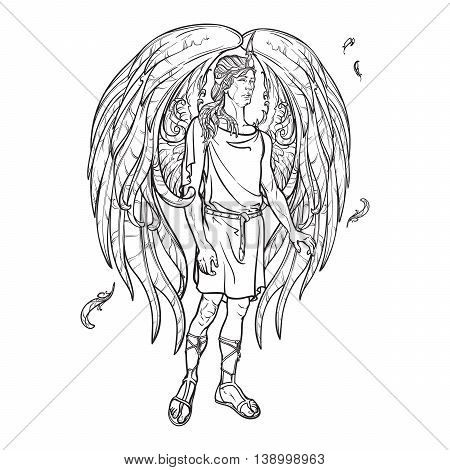 Angel or Archangel. Byblical supernatural creature messenger of God. Sketch drawing isolated on white background. EPS10 vector illustration.