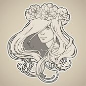 Art Nouveau styled girl with long hair in wreath poster