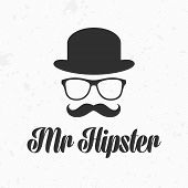 Vintage silhouette of bowler, mustaches, glasses. Vector illustration of gentleman or hipster. Retro gentleman icon. Vector art. Logo template of gentleman Club. poster