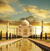 Taj Mahal palace in India on sunrise poster