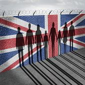 Britain immigration refugee crisis concept as people on a border wall with a British flag as a social issue on refugees or UK illegal immigrants with the shadow of a group of migrants with 3D illustration elements. poster