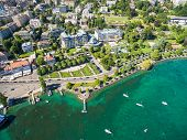 Aerial view of Ouchy waterfront in Lausanne Switzerland poster