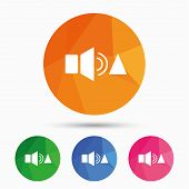 Speaker volume louder sign icon. Sound symbol. Triangular low poly button with flat icon. Vector poster