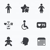WC toilet icons. Human male or female signs. Baby infant or toddler. Disabled handicapped invalid symbol. Flat talking head, calendar icons. Stars, like counter icons. Vector poster