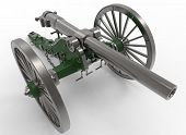 3d illustration of civil war cannon. white background isolated. murder weapon. explosive shot. field artillery poster