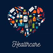 Healthcare equipment icons shaped as heart. Doctor or medic with stethoscope, dropper or pipette dropping blood, DNA and crutch or spike, tablet or pill, salve and enema or clyster. poster