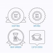 Coffee cup, meat grinder and BPA free icons. DEHP free linear sign. Award medal, star label and speech bubble designs. Vector poster
