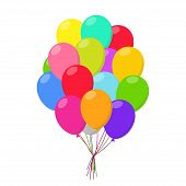 Air balloons group in flat style carnival happy surprise helium string. Bunch colorful balloons isolated on white background. Balloons set group for birthday party anniversary celebration. poster