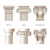stylized and realistic columns in different styles - ionic, doric, corinthian - for your architectural designs poster