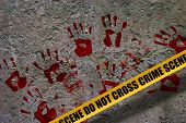 Bloody red palm prints over stone background at crime scene illustrating crime scene concept poster