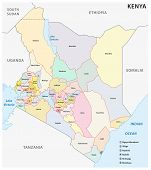vector administrative and political map of the Republic of Kenya poster