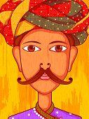 Vector design of Gujarati Man in traditional costume of Gujarat, India poster