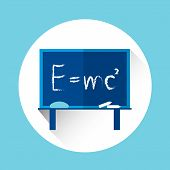 Albert Einsteins Physical Formula on School Board Mass Energy Equivalence Flat Vector Illustration poster