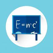 Albert Einsteins Physical Formula on School Board Mass Energy Equivalence Flat Vector Illustration poster