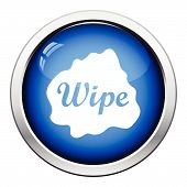 Wipe cloth icon. Glossy button design. Vector illustration. poster